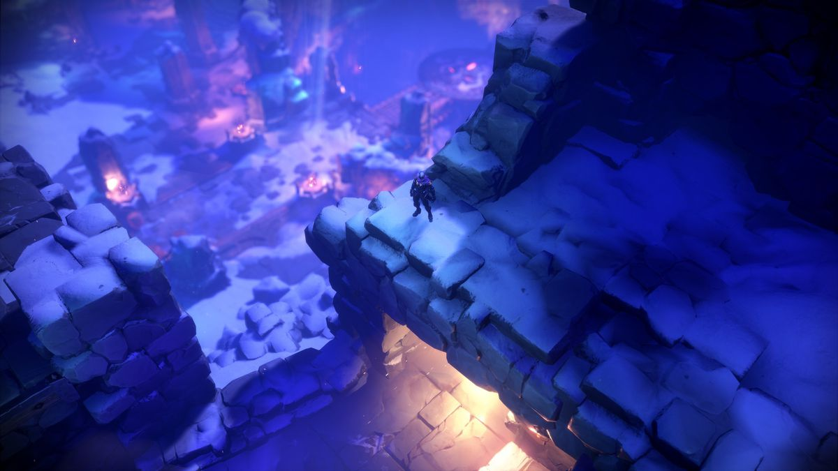 A character stands near the edge of a long drop, the blue background of a fantastical land stretches out behind them in Darksiders Genesis