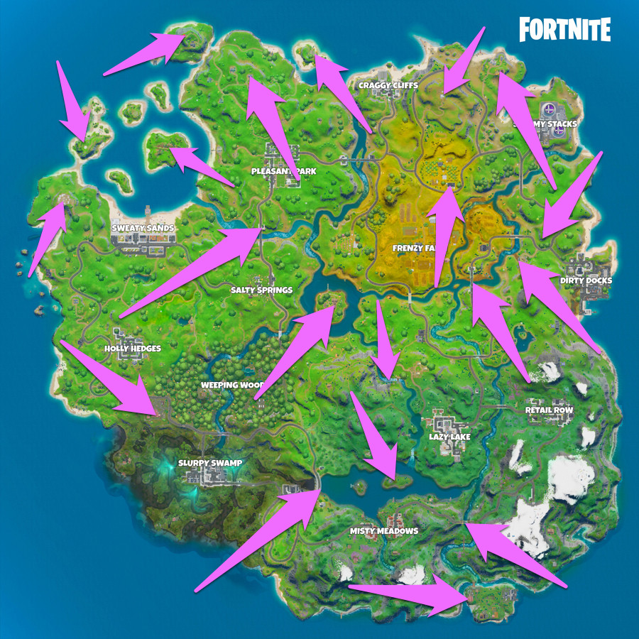 A map with all of the Fortnite Chapter 2 landmark locations marked