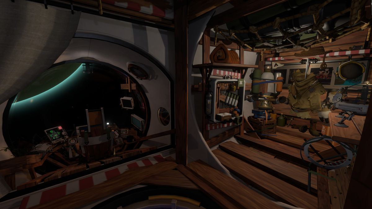 The interior of the Outer Wilds spaceship, which is mostly wood. A planet is visible from the cockpit, and a bulky spacesuit hangs from a hook.