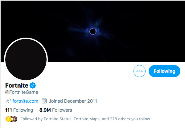 A look at Epic Game's Twitter account banner.