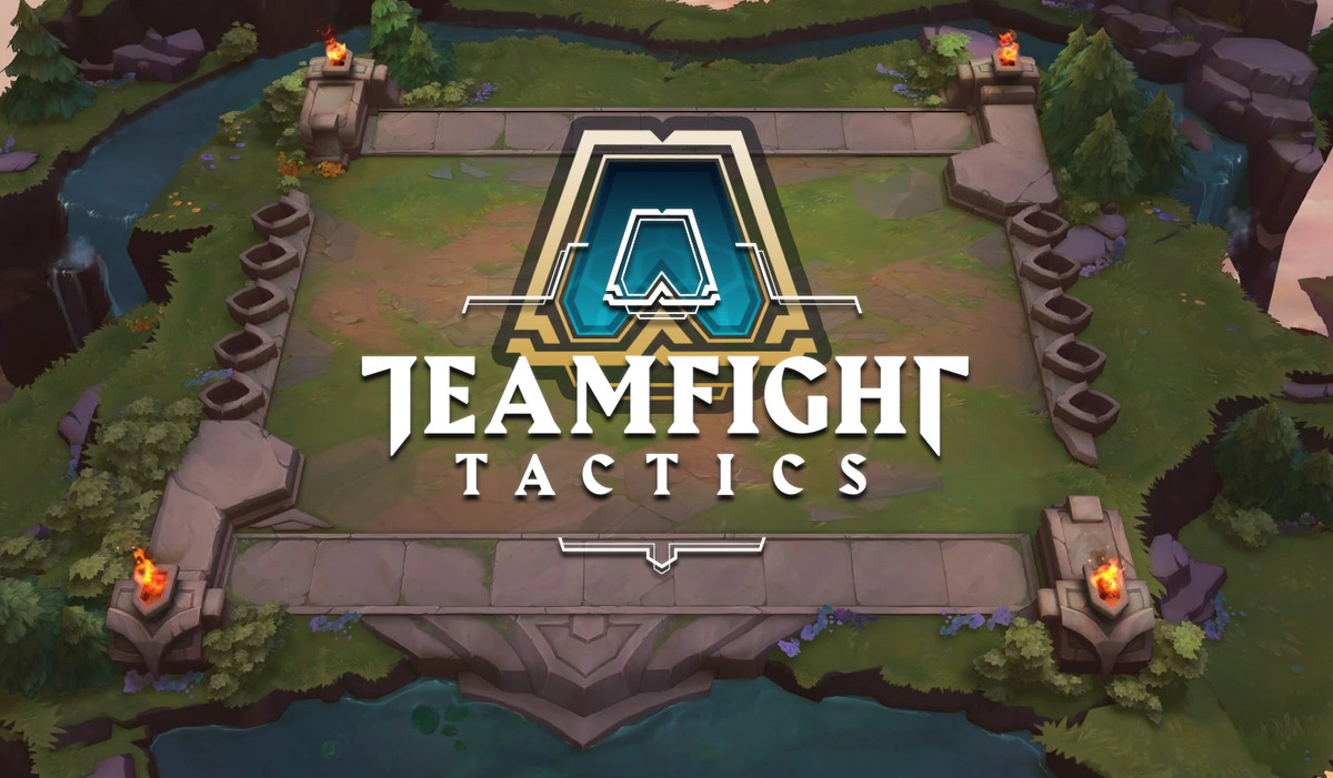 Teamfight Tactics artwork with game logo superimposed on the game board